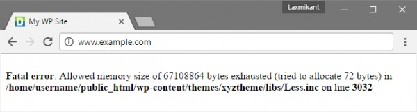 Fatal error: Allowed memory size of 67108864 bytes exhausted