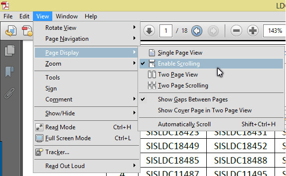 Continuos scrolling in Adobe Reader
