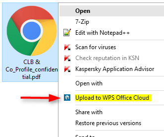 Remove Upload to WPS Office Cloud from Right Click Context Menu