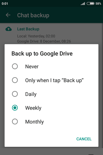 WhatsApp backup on Google Drive