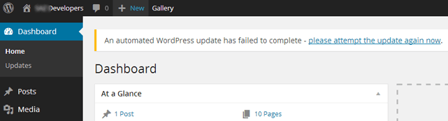 WordPress update failed
