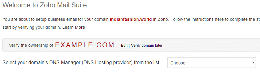 Verify Domain in Zoho Email